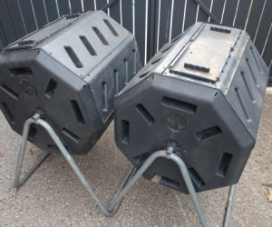 Pair of rotary compost bins