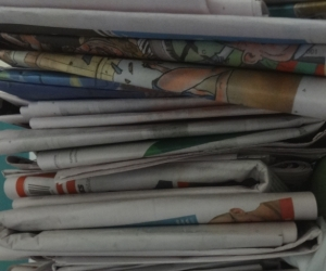 Newspapers: a very small pile for for craft, garden, paper mache