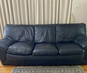 Natuzzi leather 3 seater navy couch