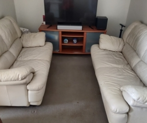 Leather Cream Colour Couch/Sofa Set of 2 for FREE