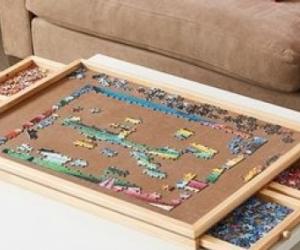 Wooden jigsaw puzzle organiser board