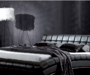 Black  bed frame leather  and mattress - Queen size