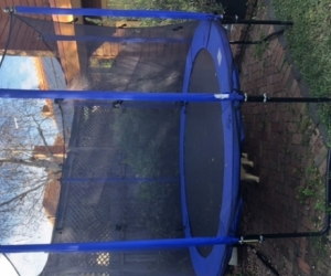 Trampoline with spring pads and netting