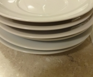7 white saucers. Excellnt condition Good as plant pot saucers?