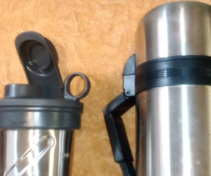 stainless thermos and mug