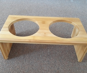 bamboo stand for cat or small dog bowls
