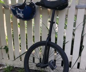 Unicycle and helmet
