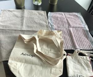 Linen bags and tea towels