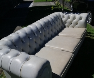 Leather Sofa Couch - 3 Seater Lounge Suite