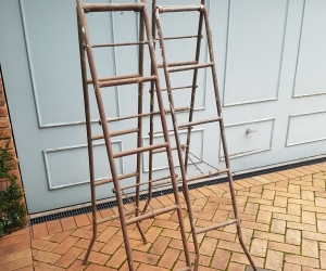2 x old metal ladders for home scaffolding