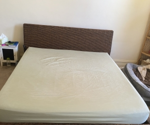 Rattan king bed frame