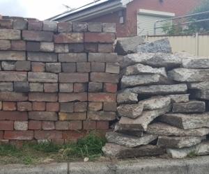 Demolition bricks and rocks
