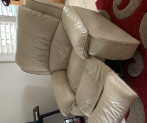 Leather lounge set,  3 seater with recliners plus 2 individual recliners