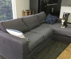 Chaise Sofa Dark Grey with Removable Cover