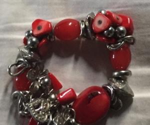 Bracelet - red & silver