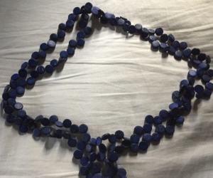 Necklace - dark blue wood