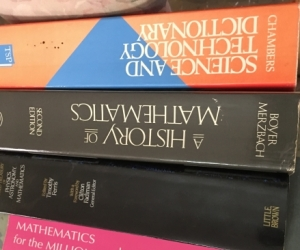 Maths and physics history and dictionary books