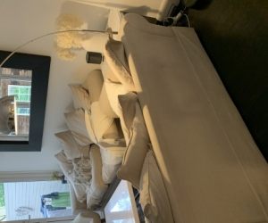 2 Beige fabric couches size 2.5 seater
