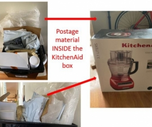 Large box full of 'postage' materials (bubble wrap, envelopes of all sizes, some paper, some padded, etc)
