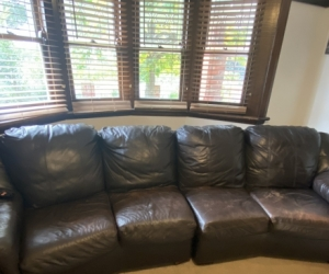 Free 4 seater 2 piece dark brown leather couch
