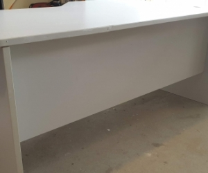 Office desk - grey laminate, 170 x 100-75 x 72cm, can disassemble
