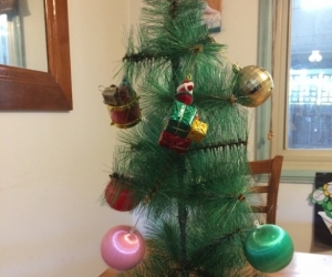 Mini Christmas tree with decorations
