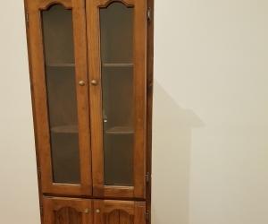 Baltic pine corner cupboard with glass doors
